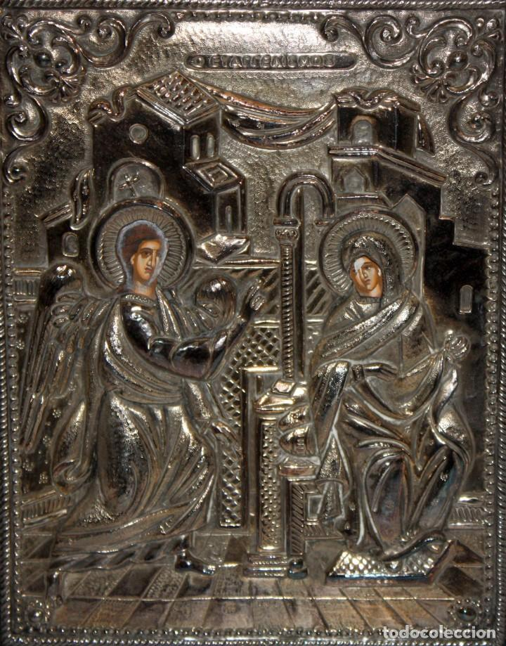 GRAN ICONO BIZANTINO EN PLATA REPUJADA DE 950. 27,5 CM. X 21,3 CM. (Arte - Arte Religioso - Iconos)