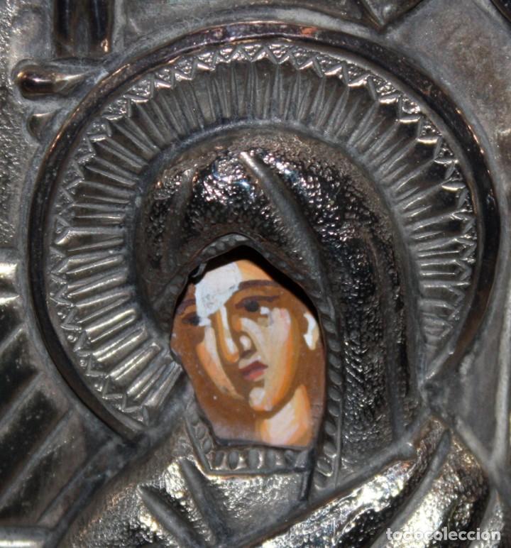 Arte: GRAN ICONO BIZANTINO EN PLATA REPUJADA DE 950. 27,5 CM. X 21,3 CM. - Foto 4 - 108429467