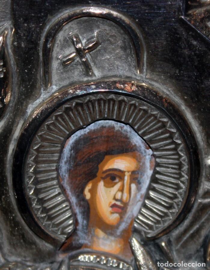Arte: GRAN ICONO BIZANTINO EN PLATA REPUJADA DE 950. 27,5 CM. X 21,3 CM. - Foto 6 - 108429467