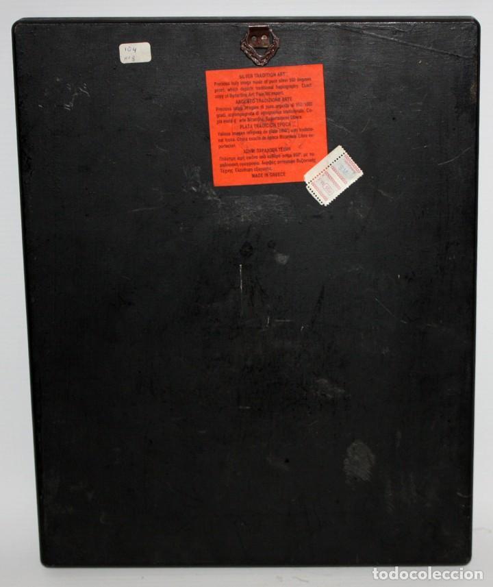 Arte: GRAN ICONO BIZANTINO EN PLATA REPUJADA DE 950. 27,5 CM. X 21,3 CM. - Foto 11 - 108429467