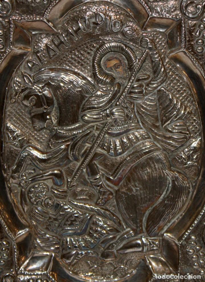 Arte: GRAN ICONO BIZANTINO EN PLATA REPUJADA. 25 CM. X 19 CM. - Foto 2 - 108430043
