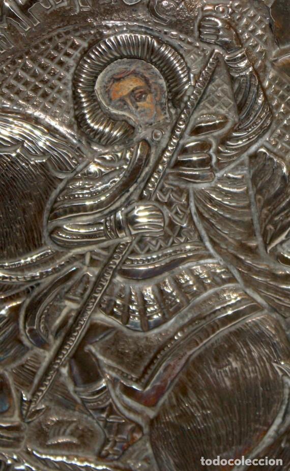 Arte: GRAN ICONO BIZANTINO EN PLATA REPUJADA. 25 CM. X 19 CM. - Foto 3 - 108430043