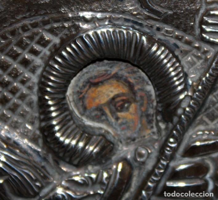 Arte: GRAN ICONO BIZANTINO EN PLATA REPUJADA. 25 CM. X 19 CM. - Foto 4 - 108430043