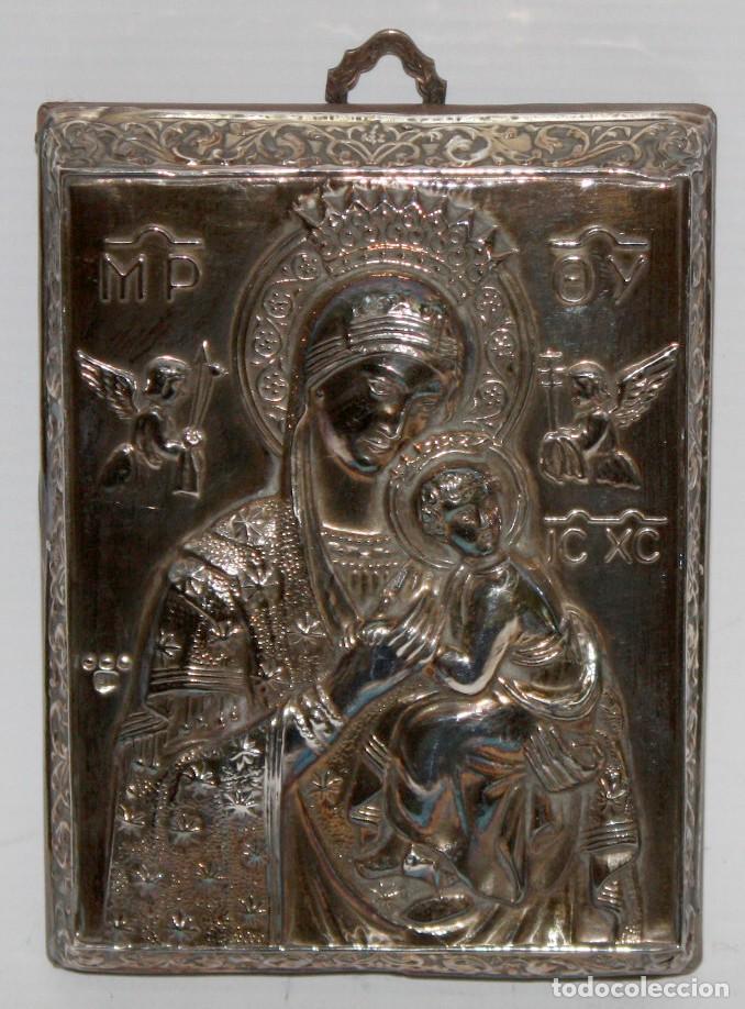 BONITO ICONO BIZANTINO EN PLATA REPUJADA. 11,3 CM. X 8,4 CM. (Arte - Arte Religioso - Iconos)