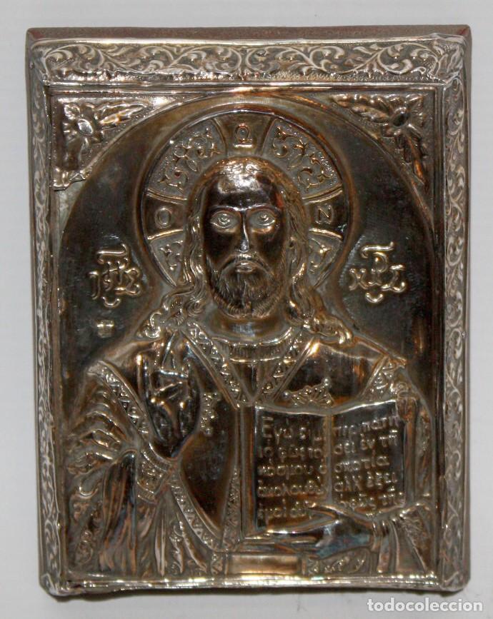 BONITO ICONO BIZANTINO EN PLATA REPUJADA. 11 CM. X 8,3 CM. (Arte - Arte Religioso - Iconos)