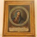 Arte: ANTUGUO OLEO SOBRE LIENZO CON IMAGEN DE VIRGEN DOLOROSA Y TEXTO INDULGENCIA - ANONIMO NUMERACION Y S. Lote 46591711