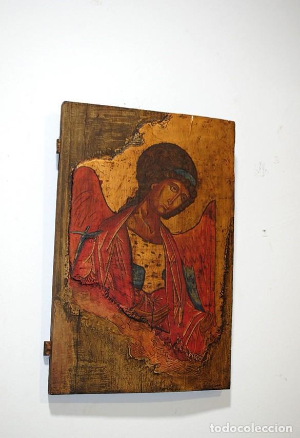 ANTIGUO ICONO ORTODOXO DE MADERA - ARCÁNGEL MICHAEL (Arte - Arte Religioso - Iconos)