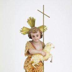 Arte: ESCULTURA RELIGIOSA DE YESO - SAN JUANITO CON CORDERO - EL RENACIMIENTO, OLOT, C. 1915 - ALT 32,5 CM. Lote 108715223