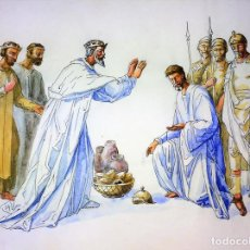 Arte: ABRAHAM Y MELQUISEDEC. ACUARELA SOBRE PAPEL. ATRIB. GORGUES. ESPAÑA. CIRCA 1950. Lote 108887527