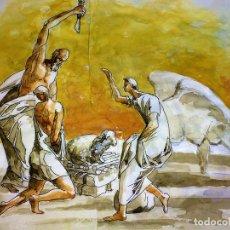 Arte: EL SACRIFICIO DE ISAAC. ACUARELA SOBRE PAPEL. ATRIB. GORGUES. ESPAÑA. CIRCA 1950. Lote 108894771
