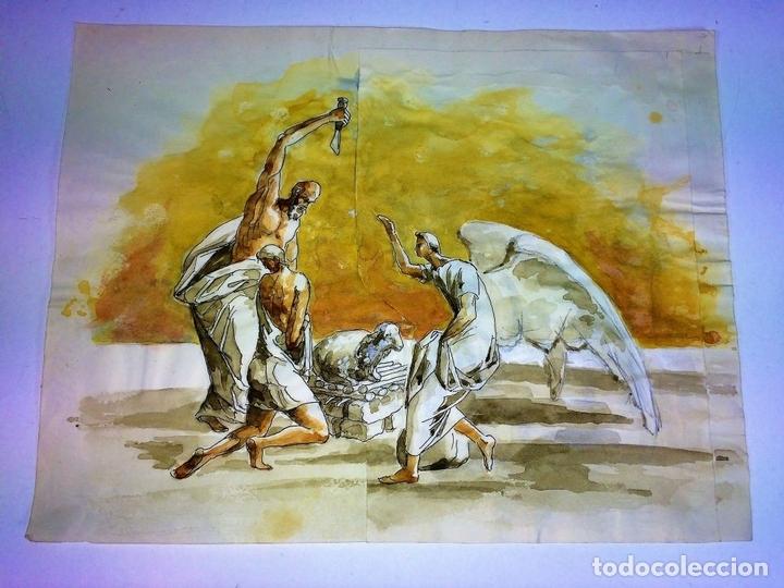 Arte: EL SACRIFICIO DE ISAAC. ACUARELA SOBRE PAPEL. ATRIB. GORGUES. ESPAÑA. CIRCA 1950 - Foto 2 - 108894771