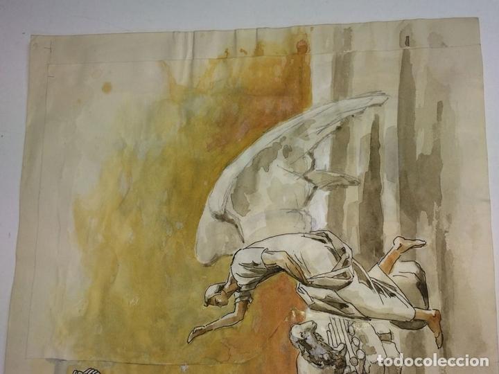Arte: EL SACRIFICIO DE ISAAC. ACUARELA SOBRE PAPEL. ATRIB. GORGUES. ESPAÑA. CIRCA 1950 - Foto 3 - 108894771