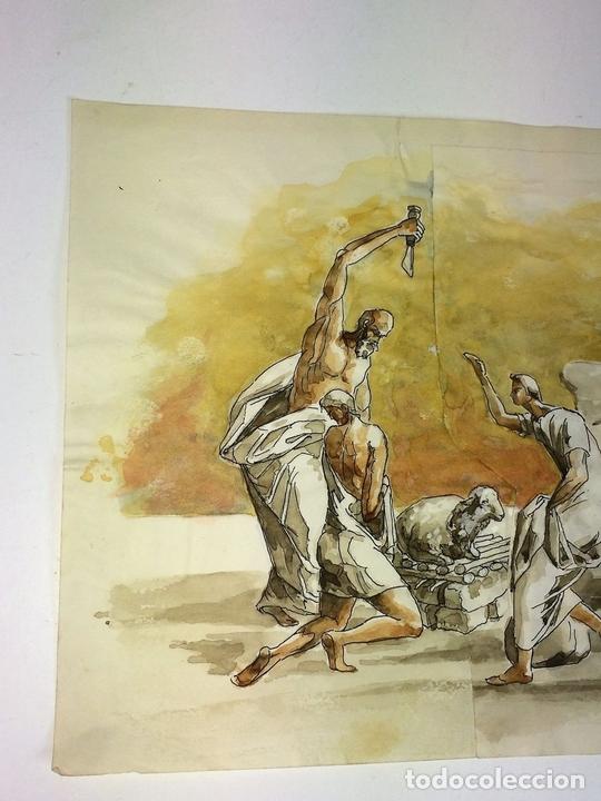 Arte: EL SACRIFICIO DE ISAAC. ACUARELA SOBRE PAPEL. ATRIB. GORGUES. ESPAÑA. CIRCA 1950 - Foto 4 - 108894771
