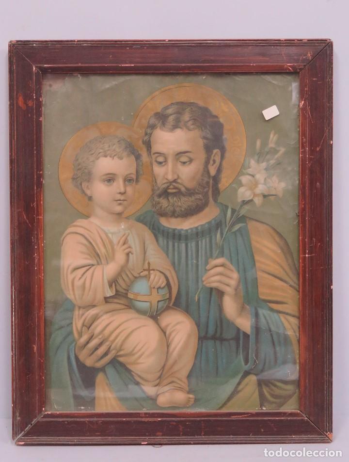 PRECIOSA LITOGRAFIA. SAN JOSE. SIGLO XIX (Arte - Arte Religioso - Litografías)