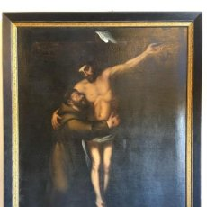 Arte: OLEO SAN FRANCISCO ABRAZANDO A CRISTO EN LA CRUZ. Lote 109016371