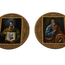 Arte: PLATO METAL DAMASQUINO TOLEDO PINTADO AL OLEO APOSTOLES ORIGINAL POR ROMAN PEREZAGUA. Lote 109041383