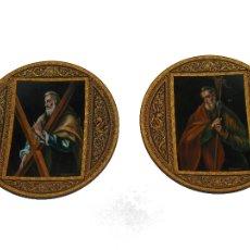 Arte: PLATO METAL DAMASQUINO TOLEDO PINTADO AL OLEO APOSTOLES ORIGINAL DE ROMAN PEREZAGUA. Lote 109041695