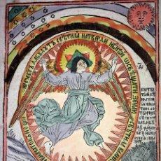 Arte: DIOS CREANDO EL CIELO Y LA TIERRA. GRABADO SOBRE PAPEL. COLOREADO. EUROPA. XIX. Lote 109261623