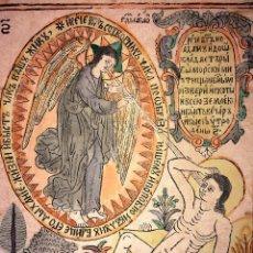Arte: LA CREACIÓN DE ADÁN. GRABADO SOBRE PAPEL. COLOREADO A LA ACUARELA. EUROPA. XIX. Lote 109271947