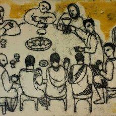 Arte: LA SANTA CENA. LITOGRAFÍA A COLOR SOBRE PAPEL. FIRMADO CLAUDE COLLET(?). FRANCIA 1967. Lote 109275475