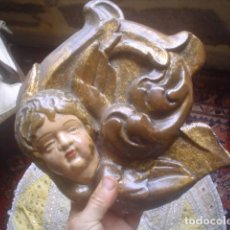 Arte: PRECIOSA TALLA ANGELOTE ANGEL O QUERUBIN XVIII EN RELIEVE CON SU POLICROMIA Y DORADO. Lote 109297311