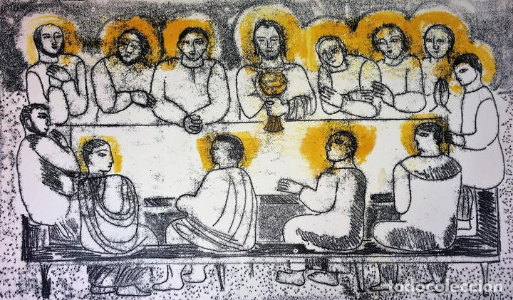 LA ÚLTIMA CENA. LITOGRAFIA A COLOR. SOBRE PAPEL. FIRMADO COLLET(?). ESPAÑA. SIGLO XX (Arte - Arte Religioso - Grabados)