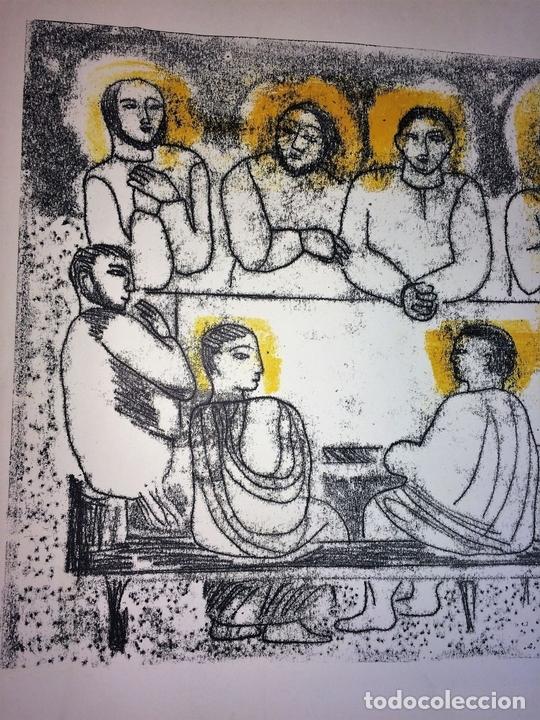 Arte: LA ÚLTIMA CENA. LITOGRAFIA A COLOR. SOBRE PAPEL. FIRMADO COLLET(?). ESPAÑA. SIGLO XX - Foto 4 - 109371155