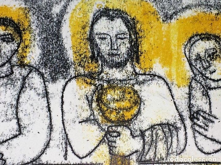 Arte: LA ÚLTIMA CENA. LITOGRAFIA A COLOR. SOBRE PAPEL. FIRMADO COLLET(?). ESPAÑA. SIGLO XX - Foto 6 - 109371155