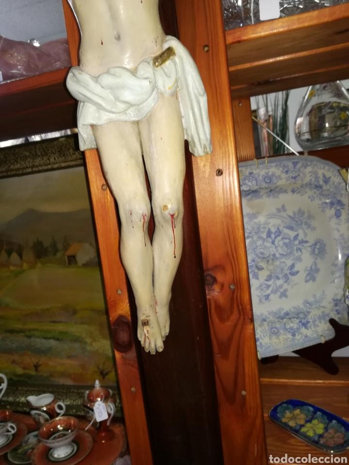 Arte: Antiguo crucifijo en madera policromado siglo XIX - Foto 3 - 109371596