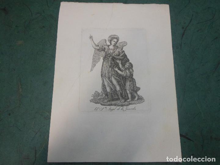 SIGLO XIX GRABADO EL ANGEL DE LA GUARDA - RELIGION (Arte - Arte Religioso - Grabados)