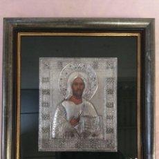 Arte: CUADRO ENMARCADO JESUS PANTOCRATO REALIZADO A MANO CON ESTAÑO REPUJADO. Lote 109383523