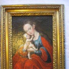 Arte: OLEO SOBRE TELA VIRGEN CON EL NIÑO S. XIX. Lote 109389223