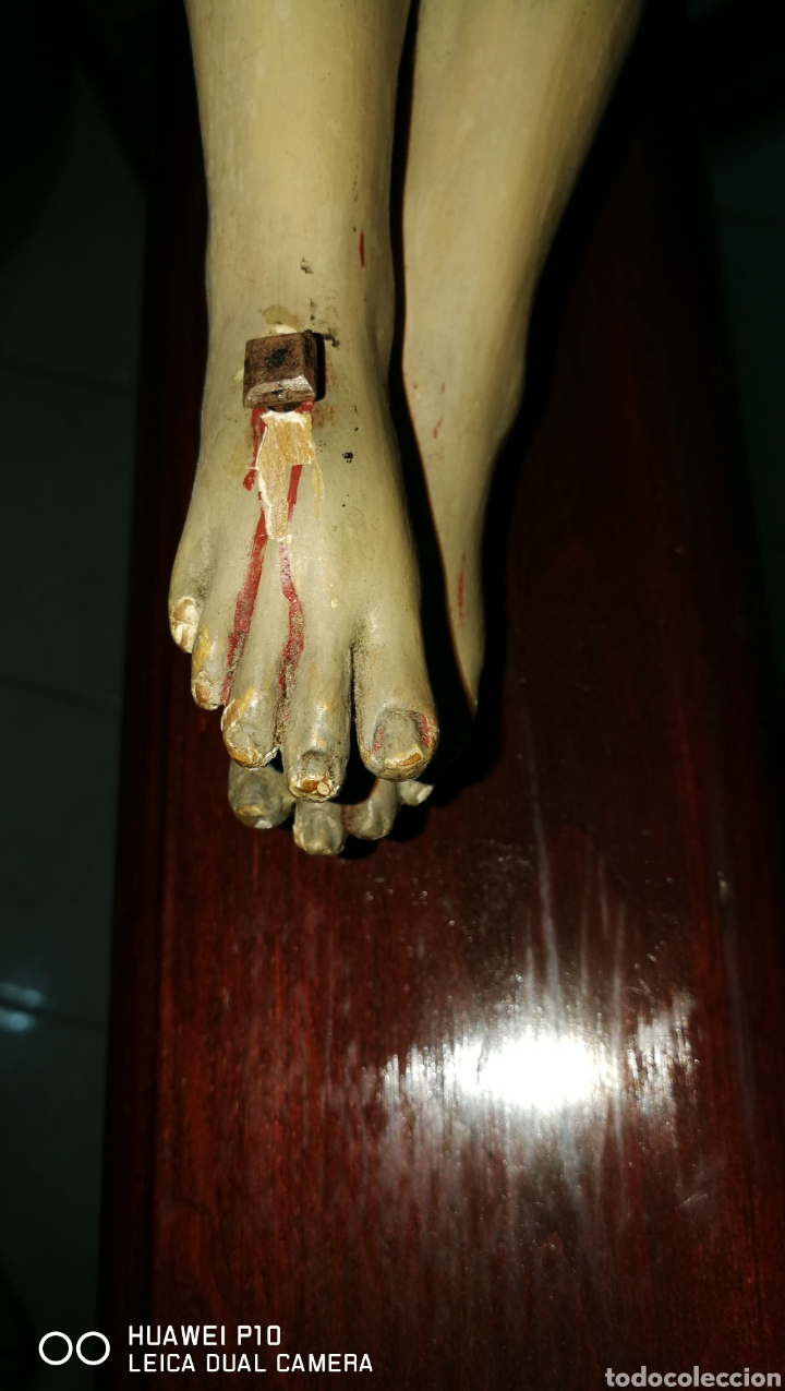 Arte: Antiguo crucifijo en madera policromado siglo XIX - Foto 10 - 109371596