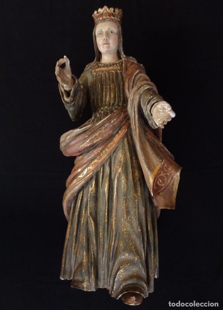 SANTA BÁRBARA. ESCULTURA EN MADERA TALLADA CON 77 CM DE ALTURA. SIGLO XVII. (Arte - Arte Religioso - Escultura)