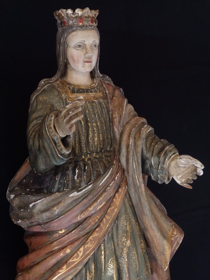 Arte: Santa Bárbara. Escultura en madera tallada con 77 cm de altura. Siglo XVII. - Foto 2 - 109406551