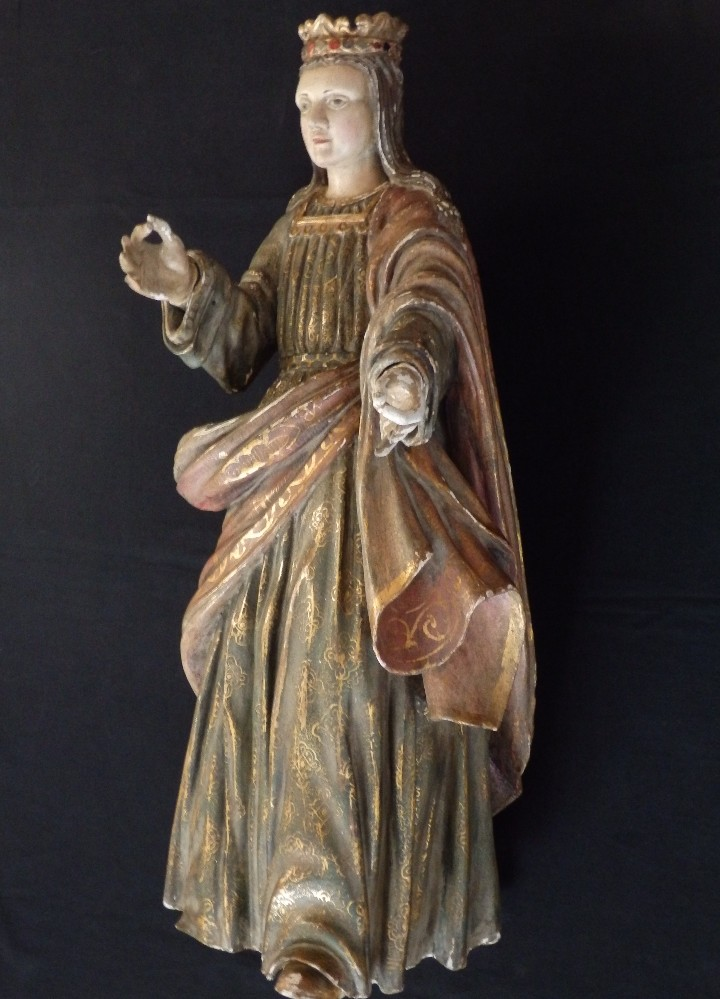 Arte: Santa Bárbara. Escultura en madera tallada con 77 cm de altura. Siglo XVII. - Foto 3 - 109406551