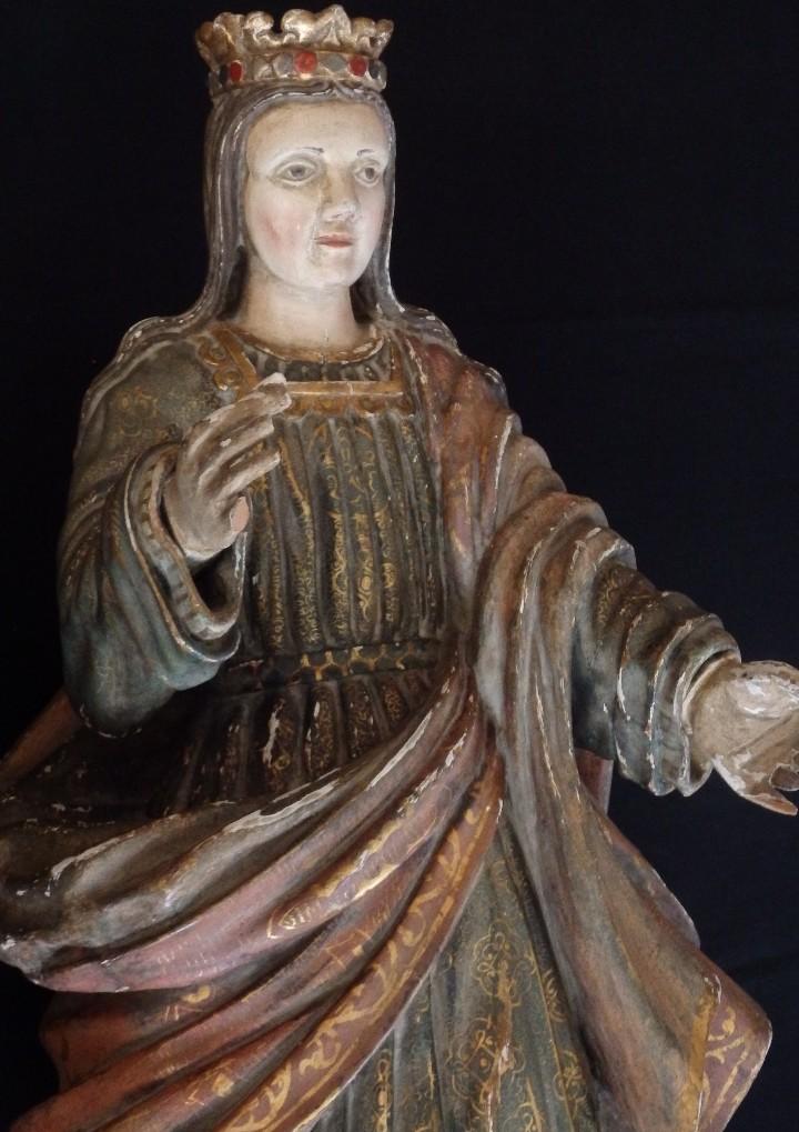Arte: Santa Bárbara. Escultura en madera tallada con 77 cm de altura. Siglo XVII. - Foto 4 - 109406551