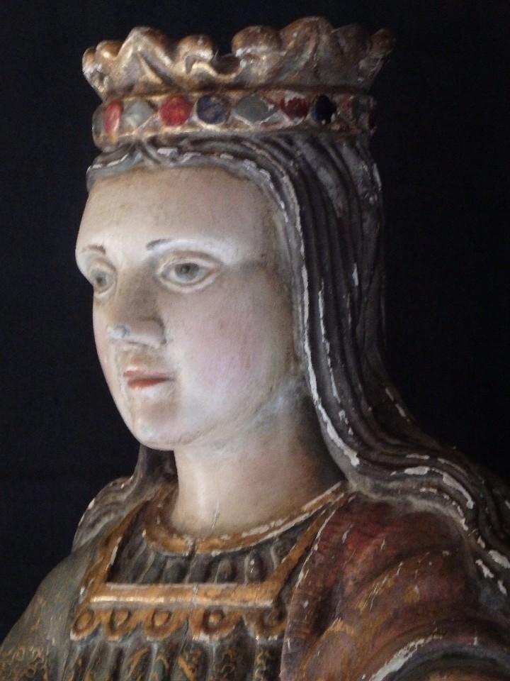 Arte: Santa Bárbara. Escultura en madera tallada con 77 cm de altura. Siglo XVII. - Foto 5 - 109406551