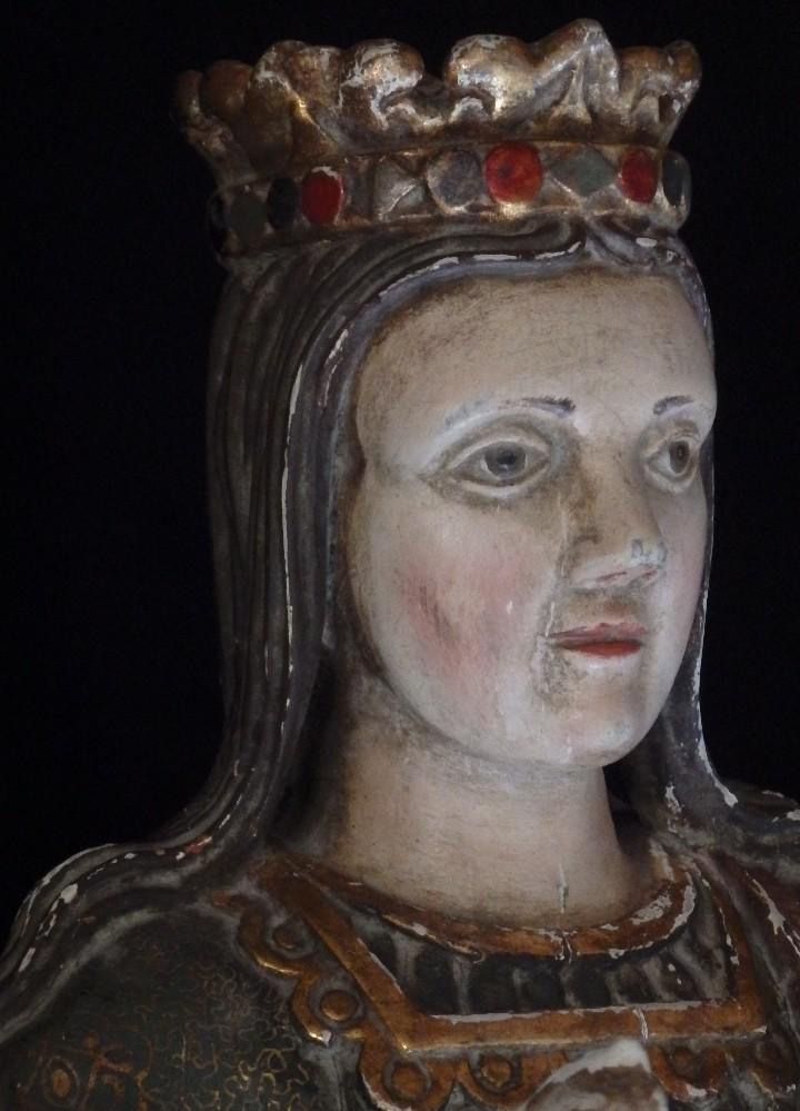 Arte: Santa Bárbara. Escultura en madera tallada con 77 cm de altura. Siglo XVII. - Foto 6 - 109406551