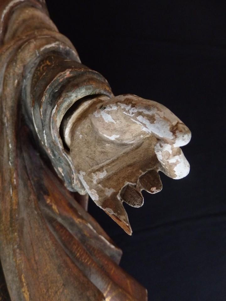 Arte: Santa Bárbara. Escultura en madera tallada con 77 cm de altura. Siglo XVII. - Foto 7 - 109406551