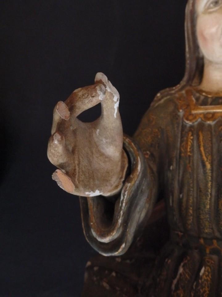 Arte: Santa Bárbara. Escultura en madera tallada con 77 cm de altura. Siglo XVII. - Foto 8 - 109406551