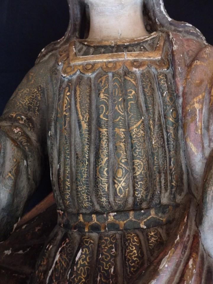 Arte: Santa Bárbara. Escultura en madera tallada con 77 cm de altura. Siglo XVII. - Foto 9 - 109406551