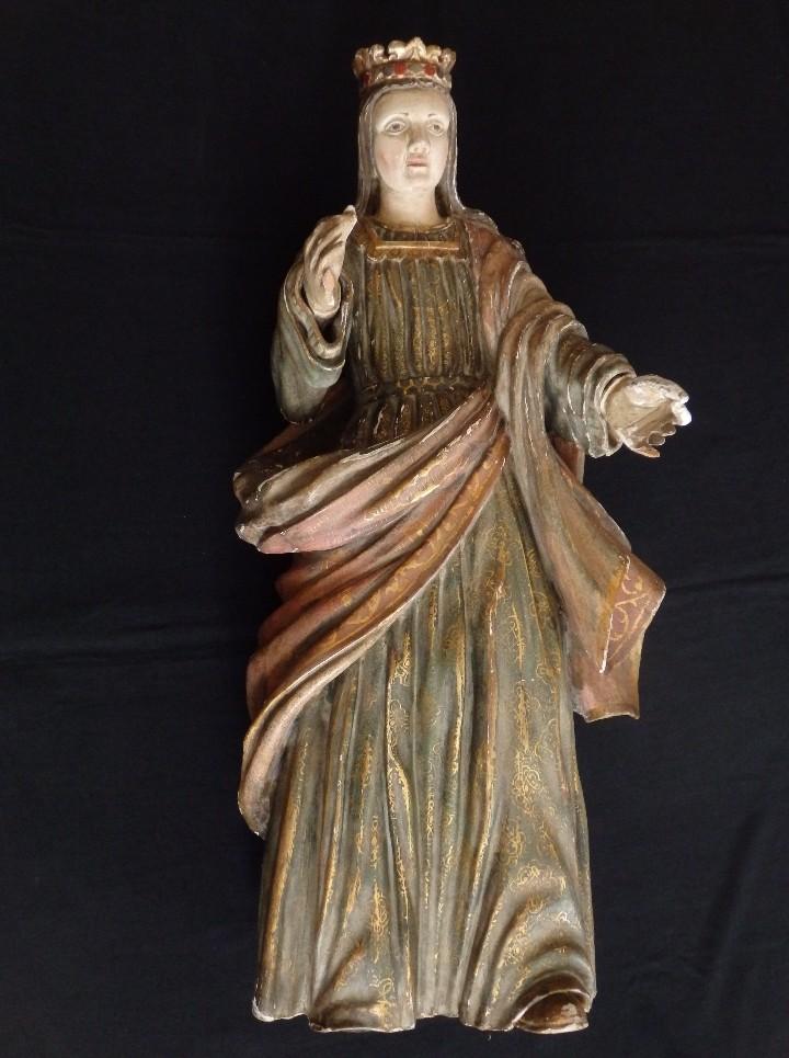 Arte: Santa Bárbara. Escultura en madera tallada con 77 cm de altura. Siglo XVII. - Foto 12 - 109406551
