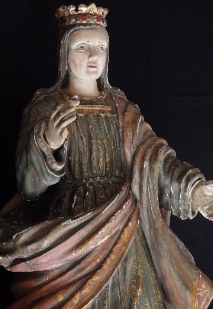 Arte: Santa Bárbara. Escultura en madera tallada con 77 cm de altura. Siglo XVII. - Foto 13 - 109406551