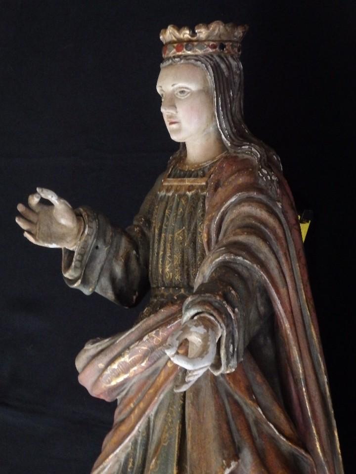 Arte: Santa Bárbara. Escultura en madera tallada con 77 cm de altura. Siglo XVII. - Foto 14 - 109406551