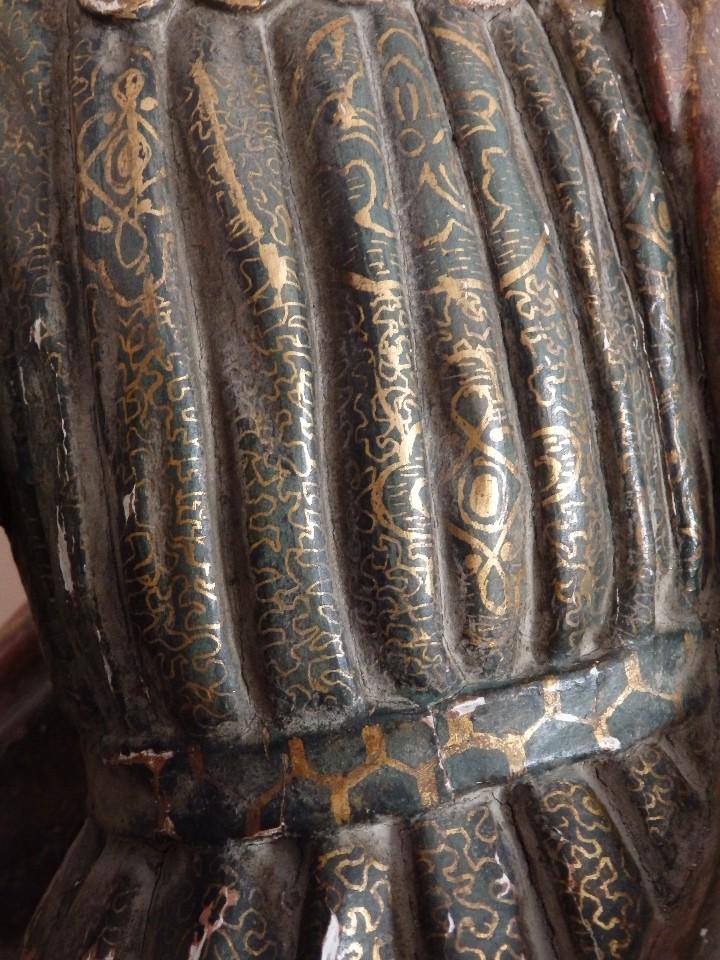 Arte: Santa Bárbara. Escultura en madera tallada con 77 cm de altura. Siglo XVII. - Foto 16 - 109406551