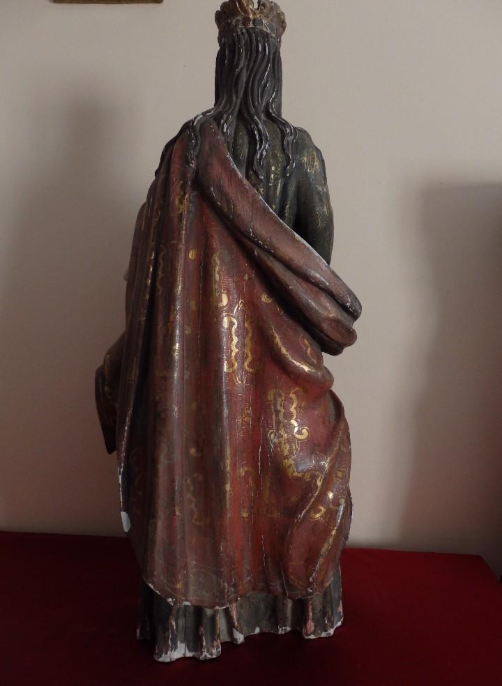 Arte: Santa Bárbara. Escultura en madera tallada con 77 cm de altura. Siglo XVII. - Foto 17 - 109406551