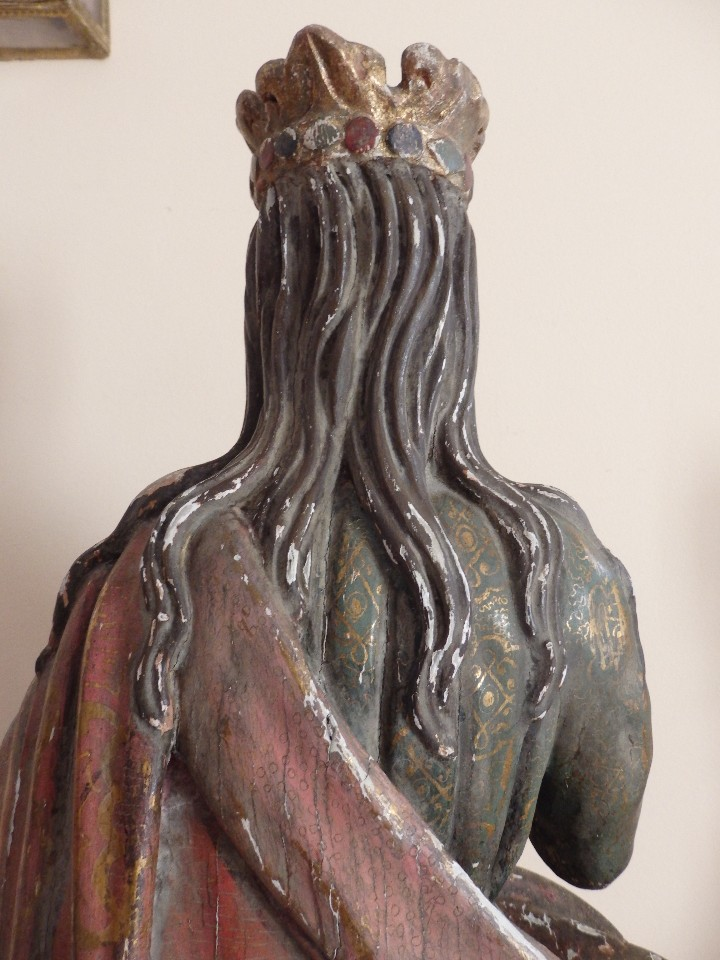 Arte: Santa Bárbara. Escultura en madera tallada con 77 cm de altura. Siglo XVII. - Foto 18 - 109406551