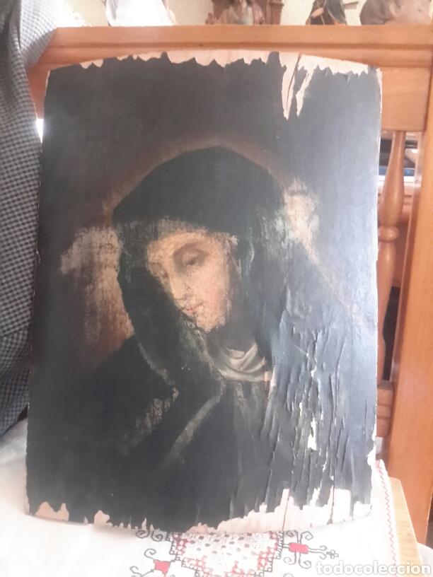ANTIGUO ÓLEO RELIGIOSO SOBRE MADERA ABARQUILLADA (Arte - Arte Religioso - Pintura Religiosa - Oleo)