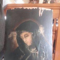 Arte: ANTIGUO ÓLEO RELIGIOSO SOBRE MADERA ABARQUILLADA. Lote 109464240